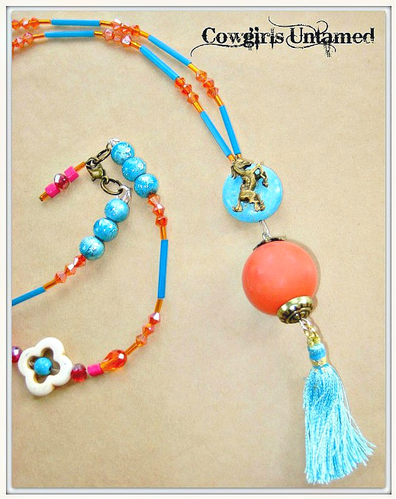 WILDFLOWER NECKLACE Aqua Tassel Coral N Antique Bronze Turquoise Pendant on Beaded Boho Necklace