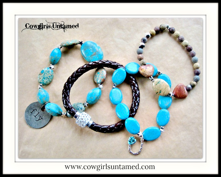 "COWGIRL GYPSY BRACELET SET of 4 ""Fly"" and Custm Horseshoe Charms on Aqua and Brown Jasper Heart Gemstone Silver Stars and Aqua Turquoise Silver Star Bracelets and Brown Leather Bracelet Set"