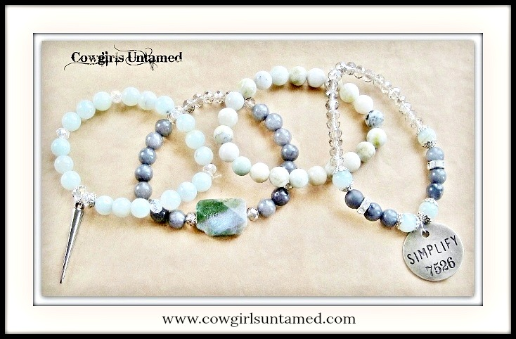 "COWGIRL GYPSY BRACELET SET of 4 Antique Silver ""Simplify"" Gunmetal Charms on Green & Grey Gemstone Crystal Beaded Bracelet Set"