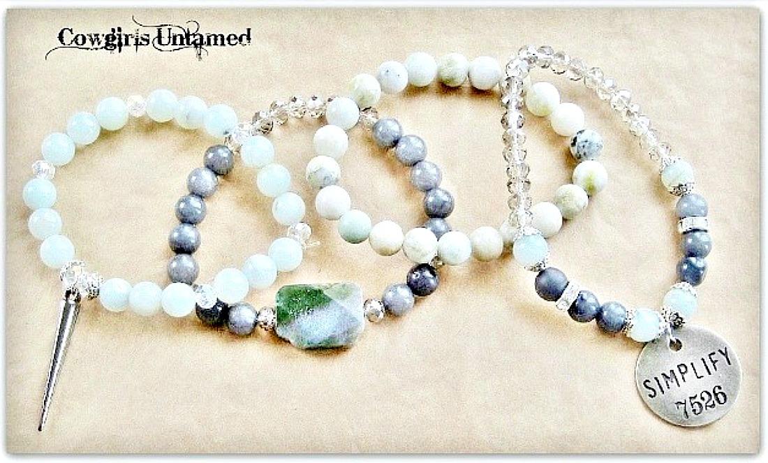 "COWGIRL GYPSY BRACELET SET of 4 Antique Silver ""Simplify"" Gunmetal Charms on Green & Grey Gemstone Crystal Beaded Bracelet Set"