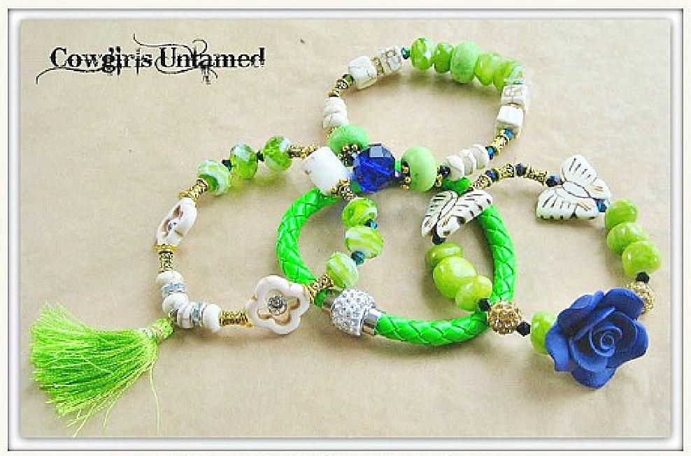 WILDFLOWER JEWELRY SET Rhinestone Green & Blue Beaded Charms Tassel Gold Bracelet 4 pc Set