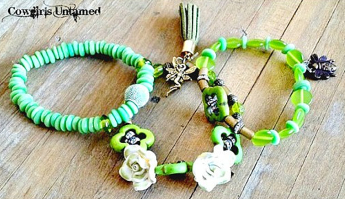WILDFLOWER JEWELRY SET Rhinestone Green Beaded Bronze Charms Tassel Bracelet Sets