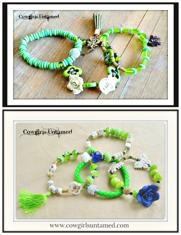 WILDFLOWER JEWELRY SET Rhinestone Green Beaded with Charms Tassel Bracelet Sets  2 DESIGNS!
