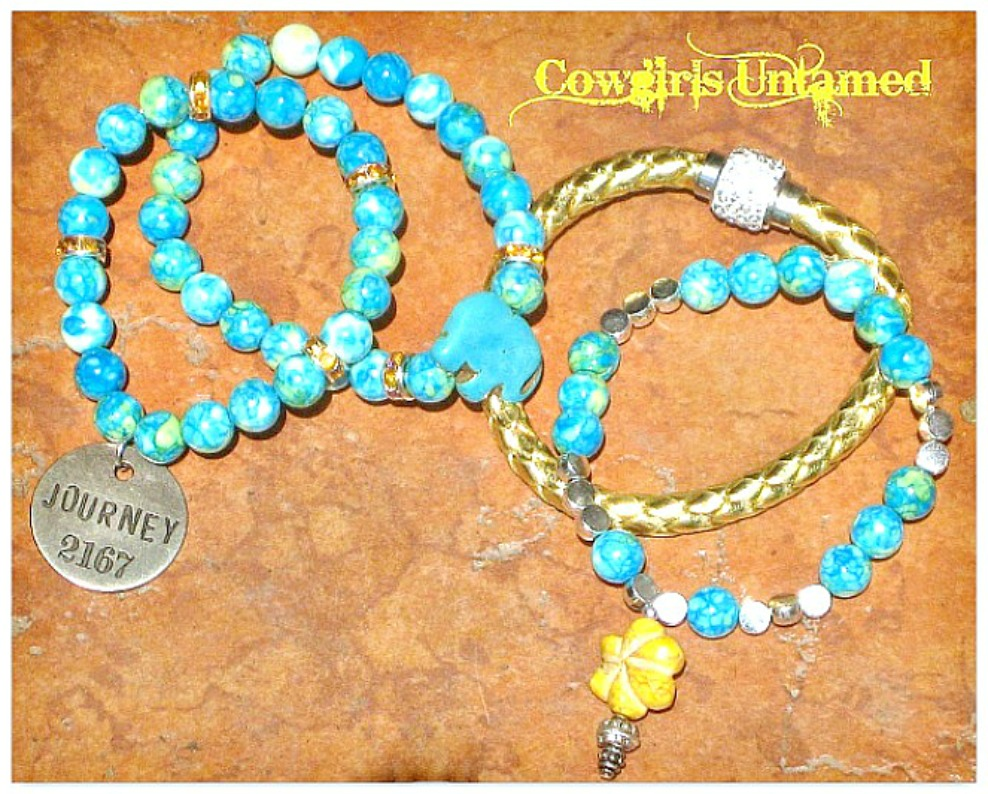 "COWGIRL GYPSY BRACELET SET of 4 Silver ""Journey"" Yellow Flower & Elephant Beaded Charm Bracelet Set"