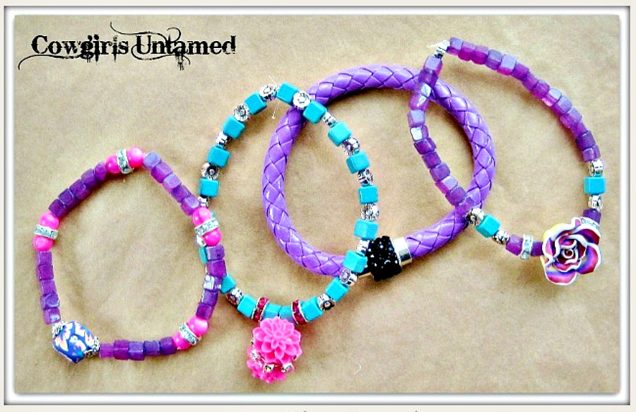 COWGIRL GYPSY BRACELET SET of 4 Purple Turquoise Black & Pink Flower Beaded Charm Bracelet Set