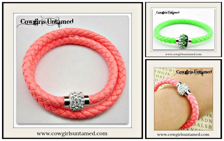 COWGIRL STYLE BRACELET Peach and Green Braided Leather Rhinestone Magnetic Closure Bracelet