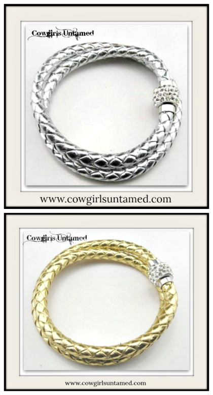 NO PLAIN JANE HERE BRACELET Metallic Braided Leather Rhinestone Magnetic Closure Double Wrap Bracelet  2 COLORS!