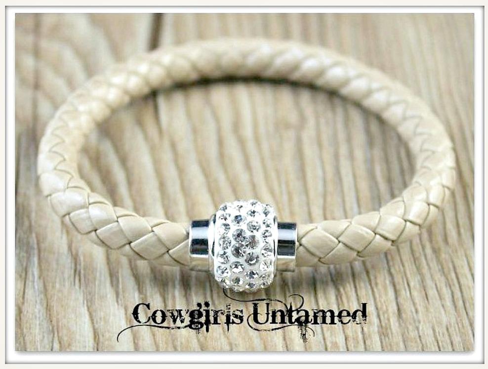 NO PLAIN JANE HERE BRACELET Grey Braided Leather Rhinestone Magnetic Closure Bracelet