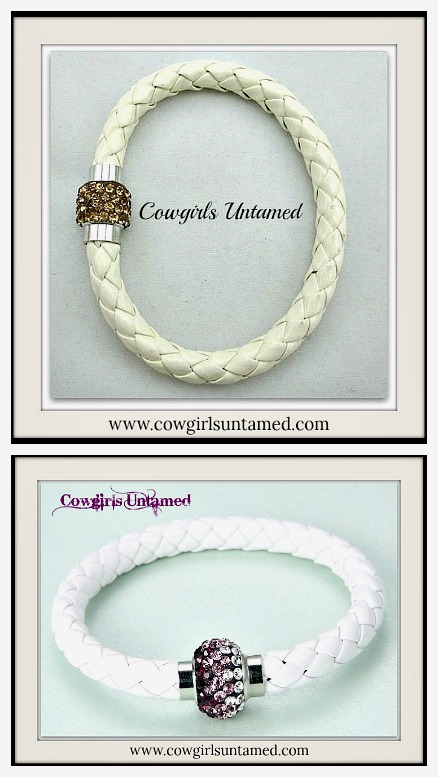 NO PLAIN JANE HERE BRACELET White & Off White Braided Leather Rhinestone Magnetic Closure Bracelet