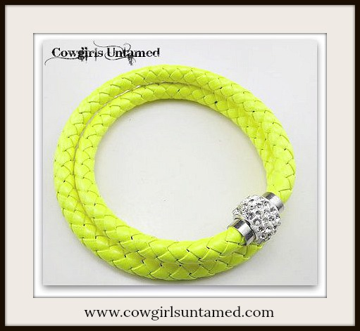NO PLAIN JANE HERE BRACELET Rhinestone Closure on YELLOW Braided Leather Double Wrap Western Bracelet