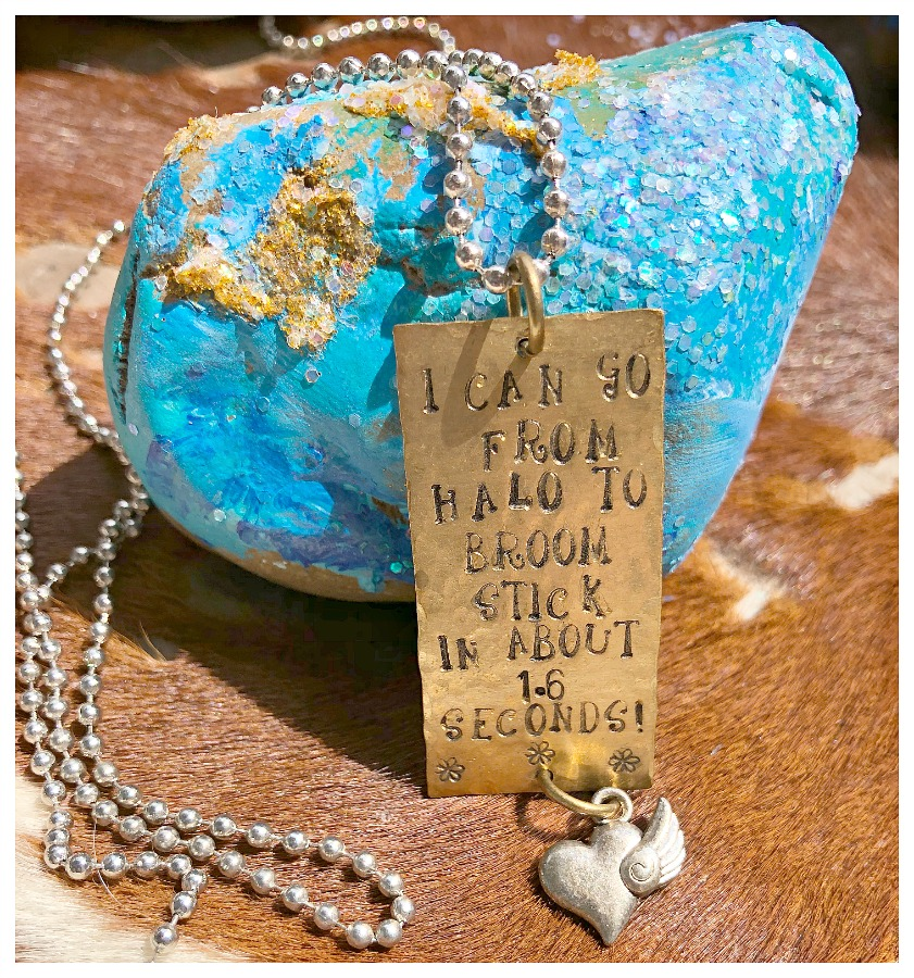 """MISS SASSY WITCH NECKLACE """"I Can Go From Halo To Broom Stick in 1.6 Seconds"""" Brass Charm Necklace LAST ONE!"""