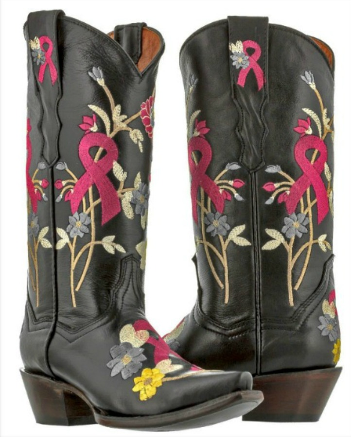COWGIRL STYLE BOOTS Embroidered Flowers Breast Cancer Awareness Ribbon Leather Cowgirl Boots Sizes 5, 5.5, 7