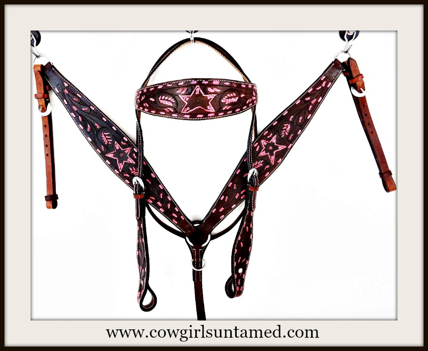 BLINGIN BESTIES HORSE TACK Hand Painted Pink Stars Genuine Embossed Leather Tack Set