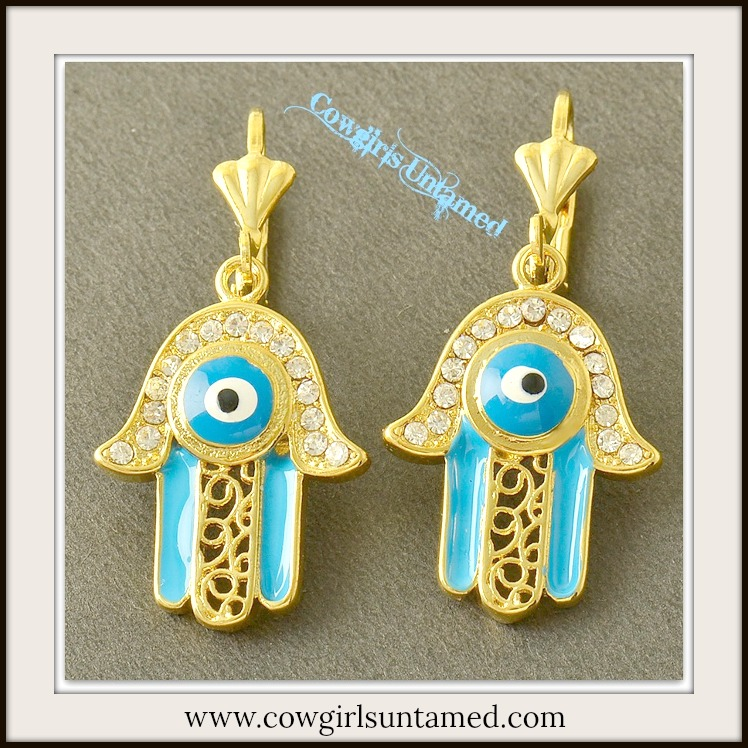 COWGIRL GYPSY EARRINGS Bright Blue Enamel Evil Eye CZ Filigree Hand 9K Gold Filled Boho Earrings