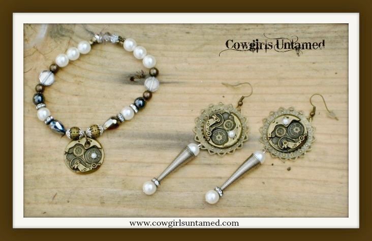 COWGIRL JUNK GYPSY BRACELET SET Antique Bronze Pearls and Silver Clockworks Bracelet & Earring Set