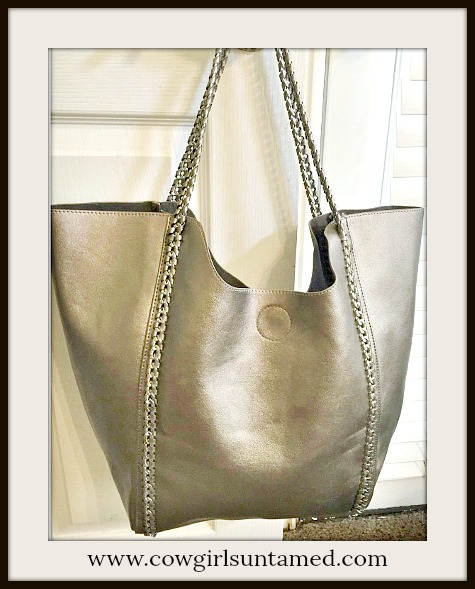 TOUCH OF GLAM TOTE Large Pewter Leather Tote with Gunmetal Chain Braided Leather Detail