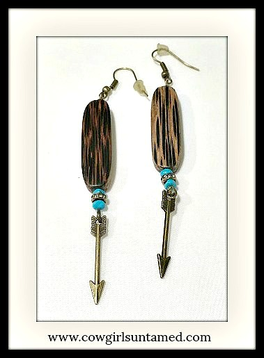 GYPSY SOUL EARRINGS Turquoise & Rhinestone Antique Bronze Arrow Boho Earrings