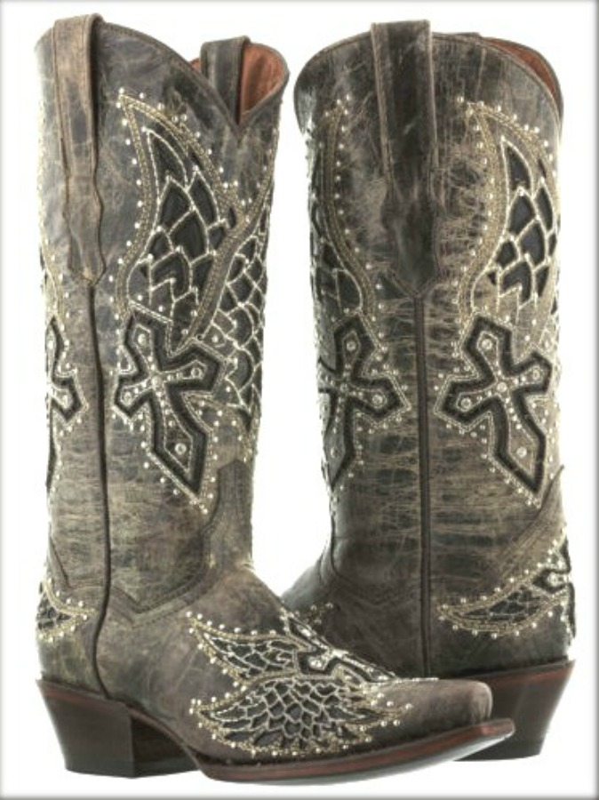 RODEO REBEL BOOTS Brown Silver & Rhinestone Studded Underlay Cross Distressed Cowgirl Boots SIZES 5-11