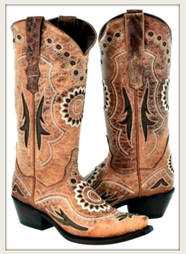 BOHEMIAN COWGIRL BOOTS Cognac Brown Inlay & Tan Embroidery Genuine Leather Boots Sizes 5-11