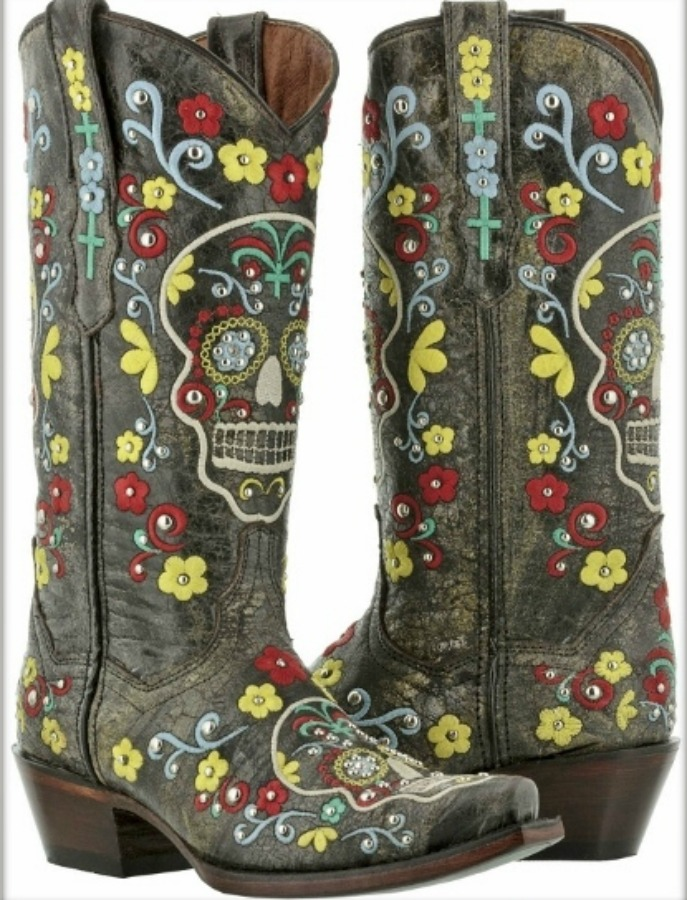 COWGIRLS ROCK BOOTS Red Cross N Floral Embroidery Sugar Skull Brown on Leather Boots