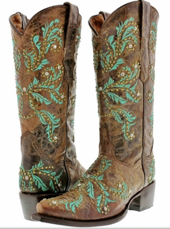 COWGIRL STYLE BOOTS Turquoise Embroidery Rhinestone Studded Brown GENUINE LEATHER Boots