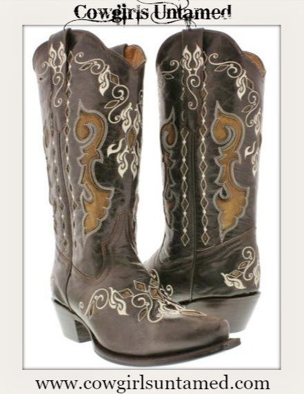 COWGIRL STYLE BOOTS Embroidered Floral Design on Brown Leather Western Boots