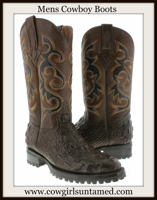 COWBOY BOOTS Mens Brown Crocodile Foot with Embroidered Design Shaft Leather Boots