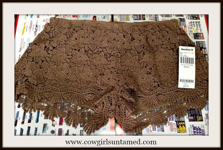 BOHO CHIC SHORTS Brown Crochet Teardrop Lace Shorts