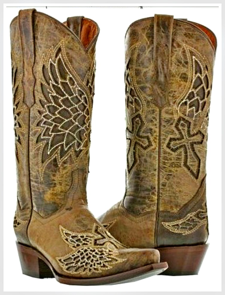 RODEO REBEL BOOTS Brown GENUINE LEATHER with Embroidered Cross Angel Wings Cowgirl Boots SIZES 5-11