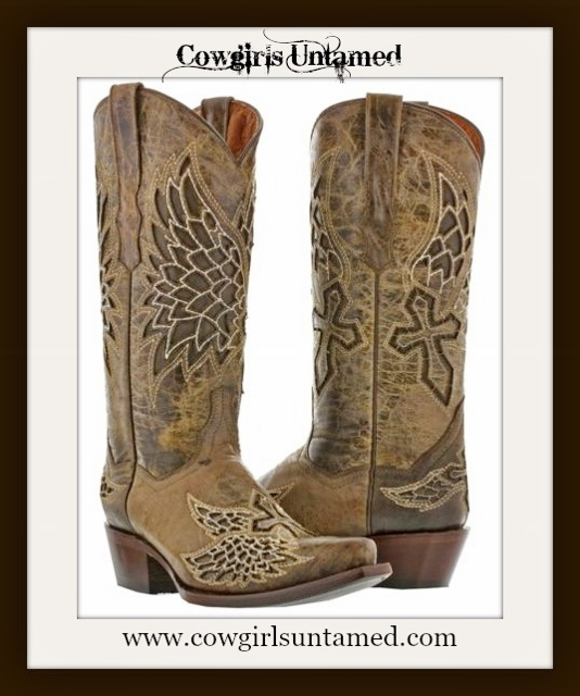 RODEO REBEL BOOTS Brown GENUINE LEATHER with Embroidrered Cross Angel Wings Cowgirl Boots