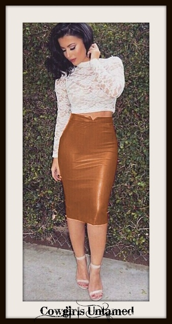 COWGIRLS ROCK SKIRT Brown Faux Leather Long Fitted Stretchy High Waisted Skirt