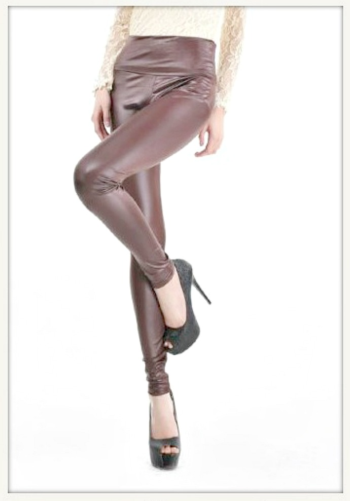 ON THE PROWL LEGGINGS Brown Faux Leather Leggings