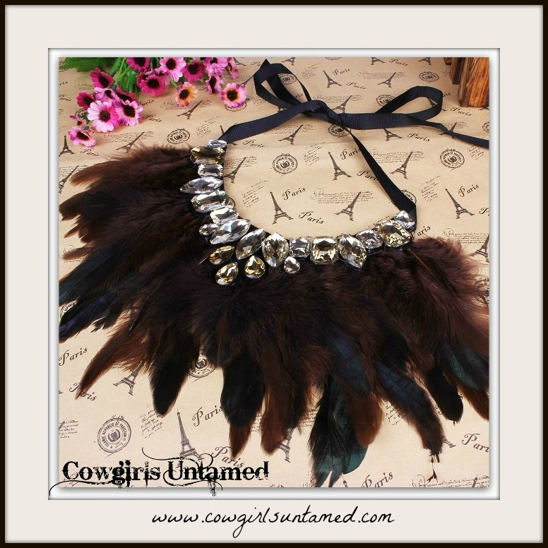 COWGIRL GYPSY NECKLACE Brown Feather Rhinestone Bib Statement Necklace