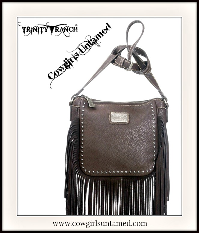 Silver Studded Brown Genuine Leather Fringe Messenger Bag