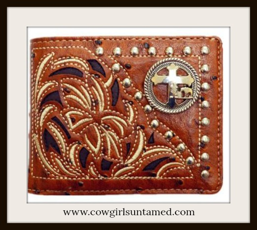 COWBOY STYLE WALLET Brown Inlay Silver Studded Praying Cowboy Bifold Wallet