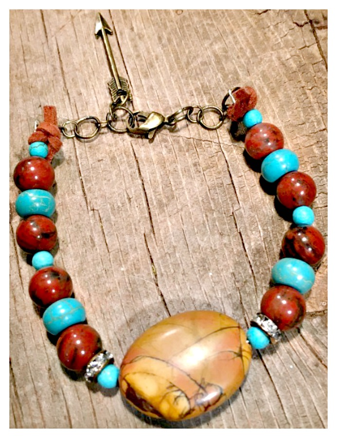 GYPSY SOUL BRACELET Brown Jasper & Turquoise Rhinestone Antique Bronze Arrow Charm Boho Bracelet