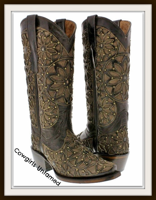 COWGIRL GYPSY BOOTS Light Brown Inlay Laser Cut & Studded Brown GENUINE LEATHER Cowgirl Boots