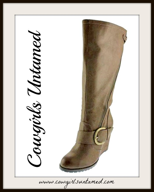 BUCKLE UP BOOTS Antique Bronze Buckle on Tall Brown Leather Riding Boots