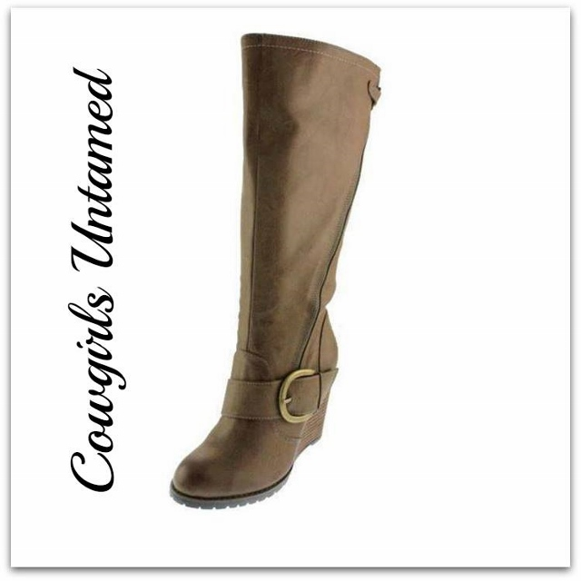 COWGIRL STYLE BOOTS Antique Bronze Buckle on Tall Brown Beige Leather Wedge Heel Riding Boots