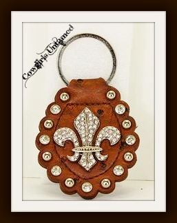 COWGIRL STYLE KEYCHAIN Silver Rhinestone Fleur De Lis and Rhinestone Studded GENUINE Brown Leather Keychain