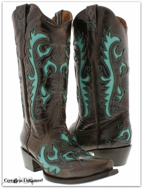 COWGIRL STYLE BOOTS Embroidered Brown GENUINE LEATHER Turquoise Inlay Snip Toe Western Boots