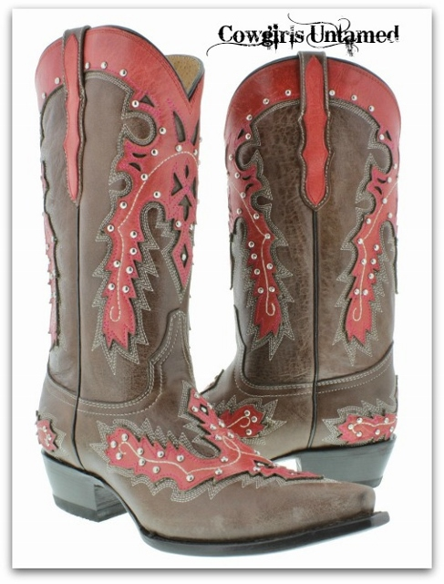 COWGIRL STYLE BOOTS Silver Studded Red Flame Overlay on GENUINE Brown Leather Western Boots