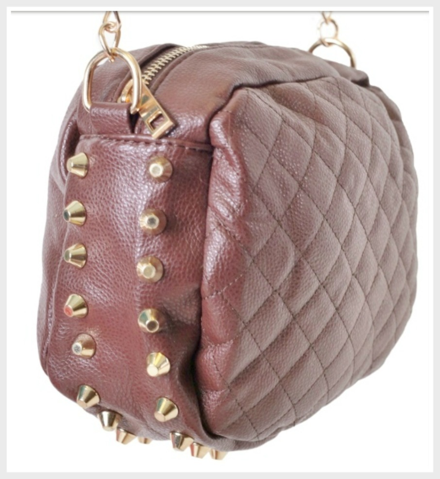 COWGIRLS ROCK PURSE Brown Quilted Studded Crossbody Chain Strap Purse