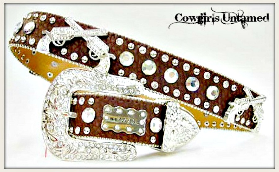 COWGIRL OUTLAW BELT Crystal Silver Sixshooter Conchos Rhinestone Studded Brown Leather Western Belt