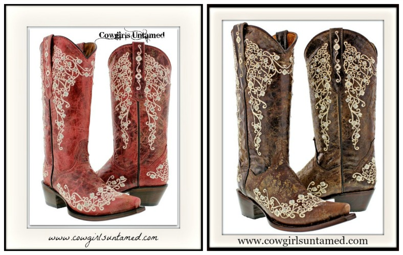 COWGIRL STYLE BOOTS Rhinestone Studded Floral Embroidery GENUINE LEATHER Boots