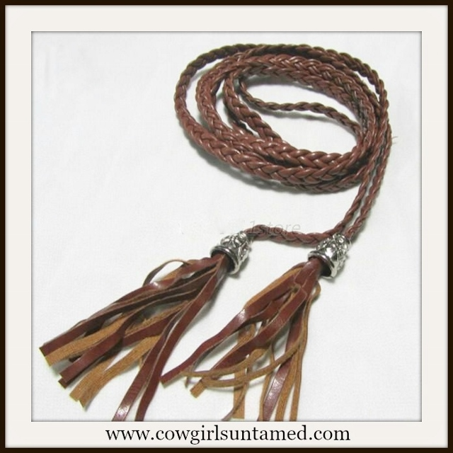 COWGIRL STYLE BELT Brown Faux Braided Leather and Tassel Belt