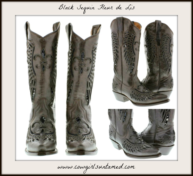 COWGIRL STYLE BOOTS Black Fleur de Lis Sequin Inlay Brown Genuine Leather Snip Toe Boots