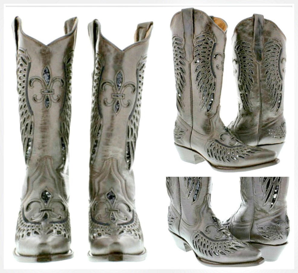 COWGIRL SEQUIN BOOTS Black Fleur de Lis Sequin Inlay Brown Genuine Leather Snip Toe Boots Sizes 5.5-11