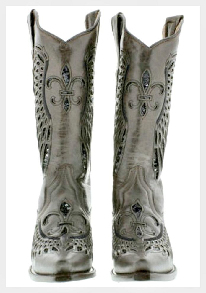 d91720dea7f Black Sequin Fleur de Lis Inlay Brown Genuine Leather Snip Toe Cowgirl  Boots, black, brown, leather, cowgirl, western, boho, boots, sequin, fleur  de ...