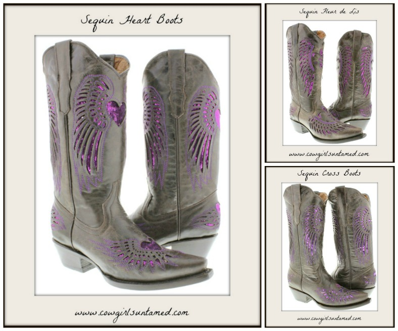 COWGIRL STYLE BOOTS Purple Sequin Angel Wings Genuine Brown Leather Snip Toe Boots